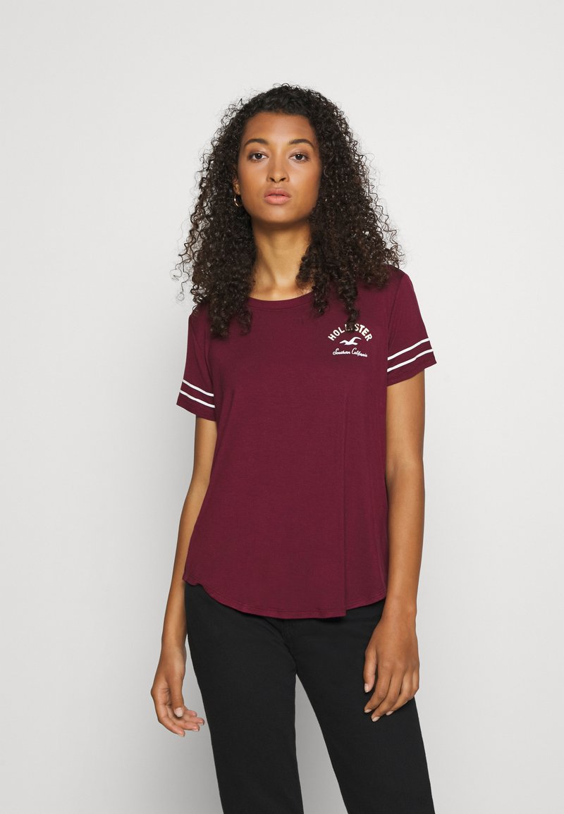 Hollister Co. - PRINT CORE - Print T-shirt - burgandy