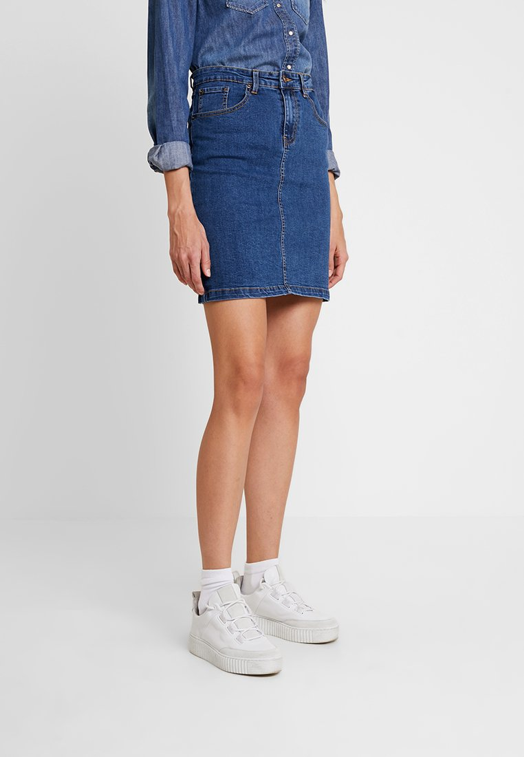 Zalando Essentials - DENIM SKIRT PENCIL - A-line skirt - blue denim