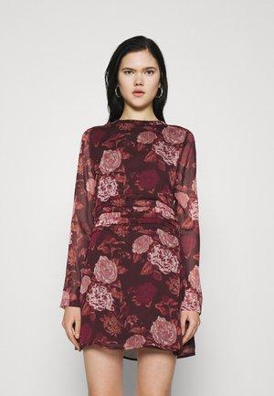 GATHERED MINI DRESS - Day dress - brown/pink