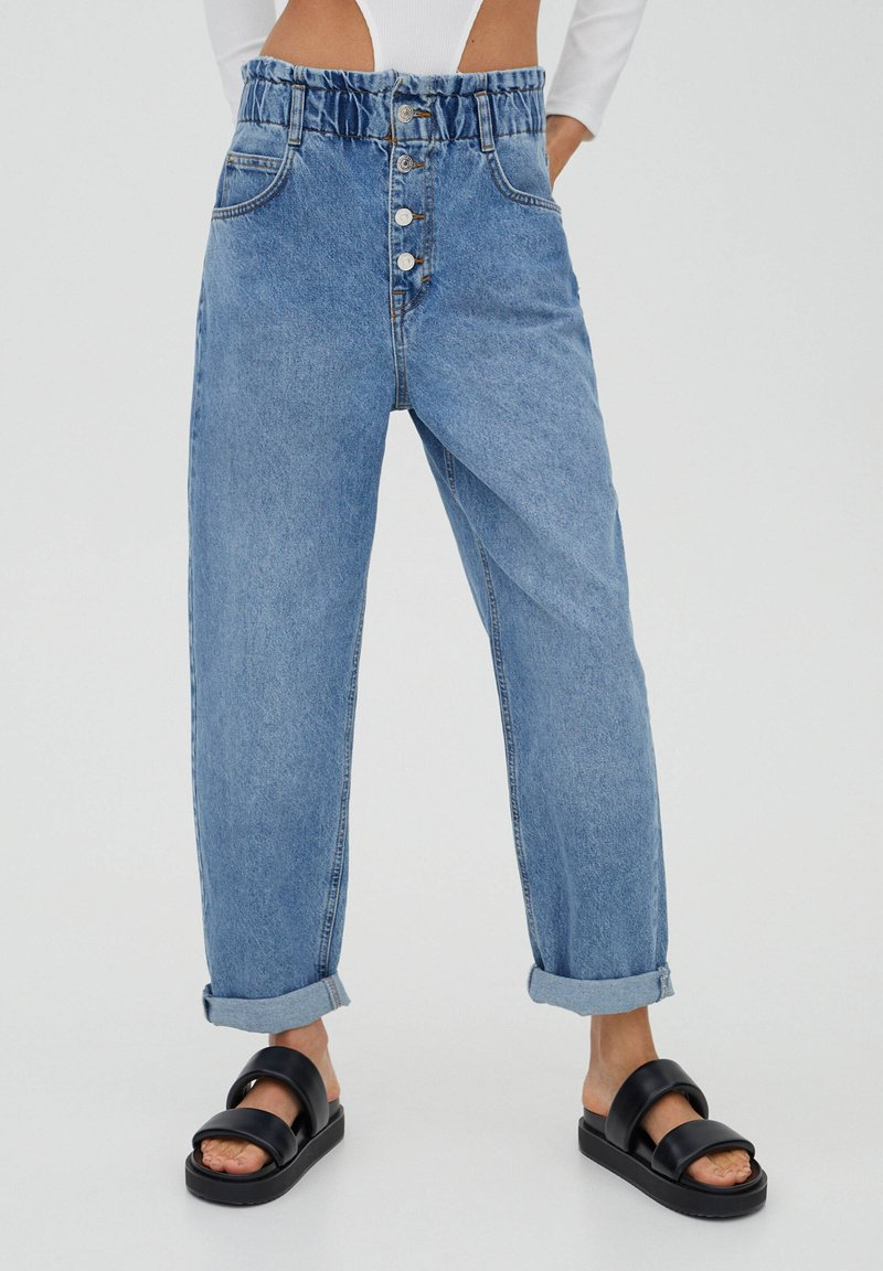 PULL&BEAR - Relaxed fit jeans - mottled blue
