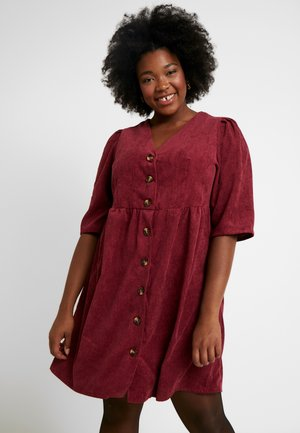 BUTTON DOWN DRESS - Shirt dress - bordeaux