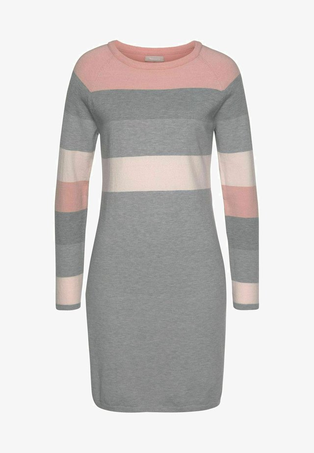 Gebreide jurk - grau gestreift