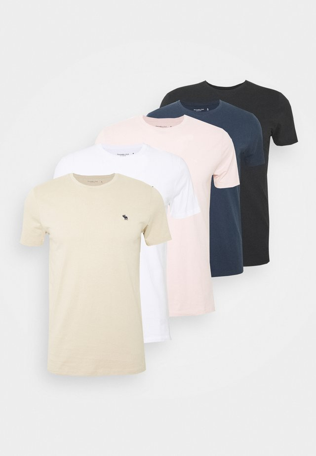 NEUTRAL CREW 5 PACK - T-shirt basic - white/rose/blue/beige/black
