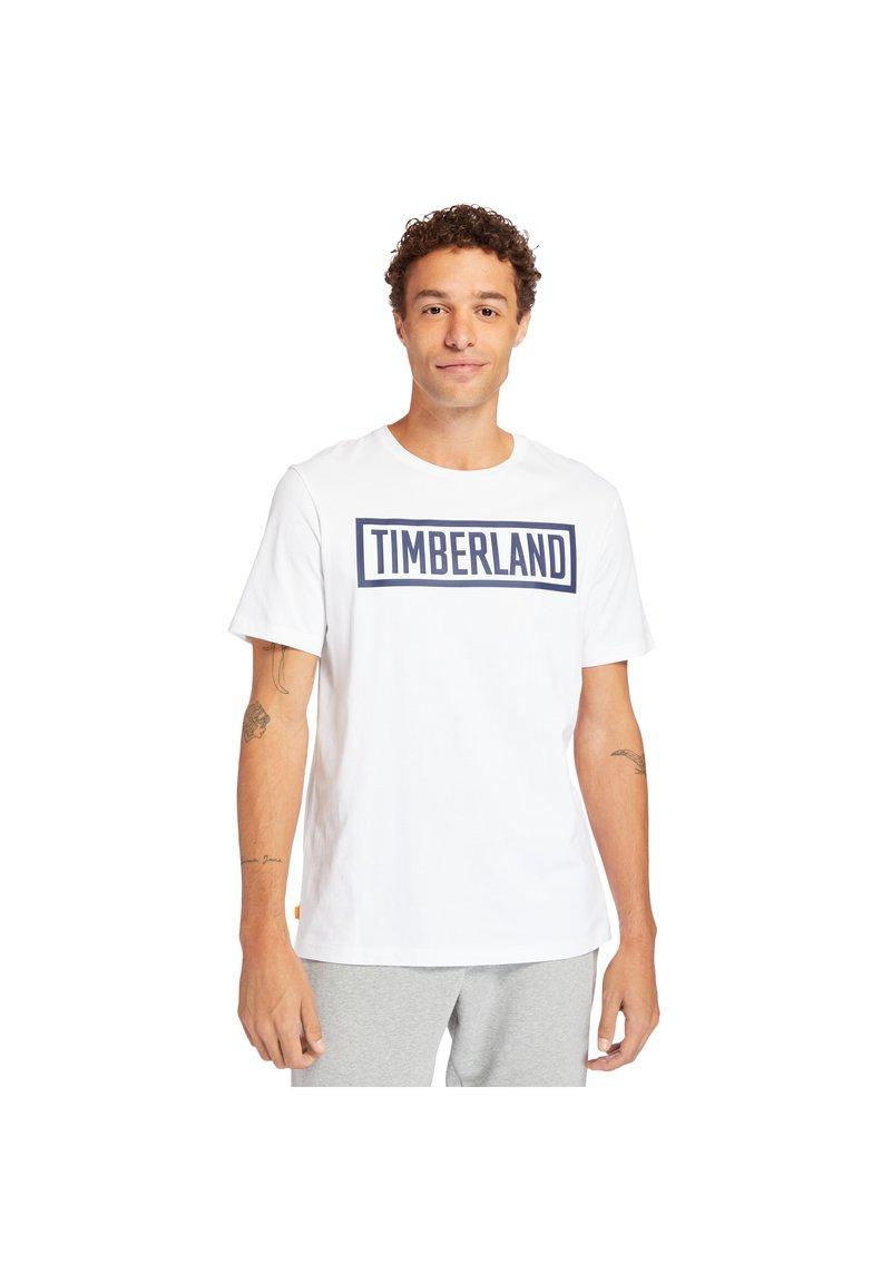 Timberland - MINK BROOK LINEAR LOGO - Print T-shirt - white