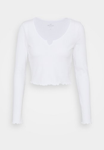 NOTCH NECK - Long sleeved top - white