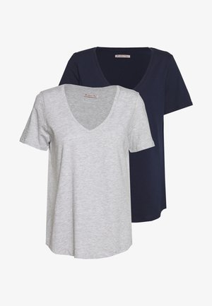 2 PACK  - T-shirts - mottled light grey/blue
