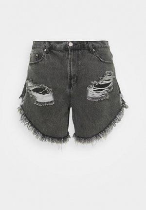 RIPPED  - Denim shorts - washed black