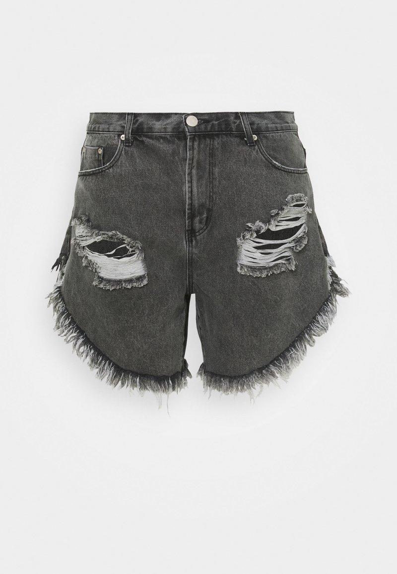 Glamorous Curve - RIPPED  - Shorts di jeans - washed black