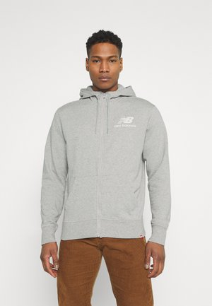 ESSENTIALS STACKED FULL ZIP HOODIE - Zip-up hoodie - athletic grey