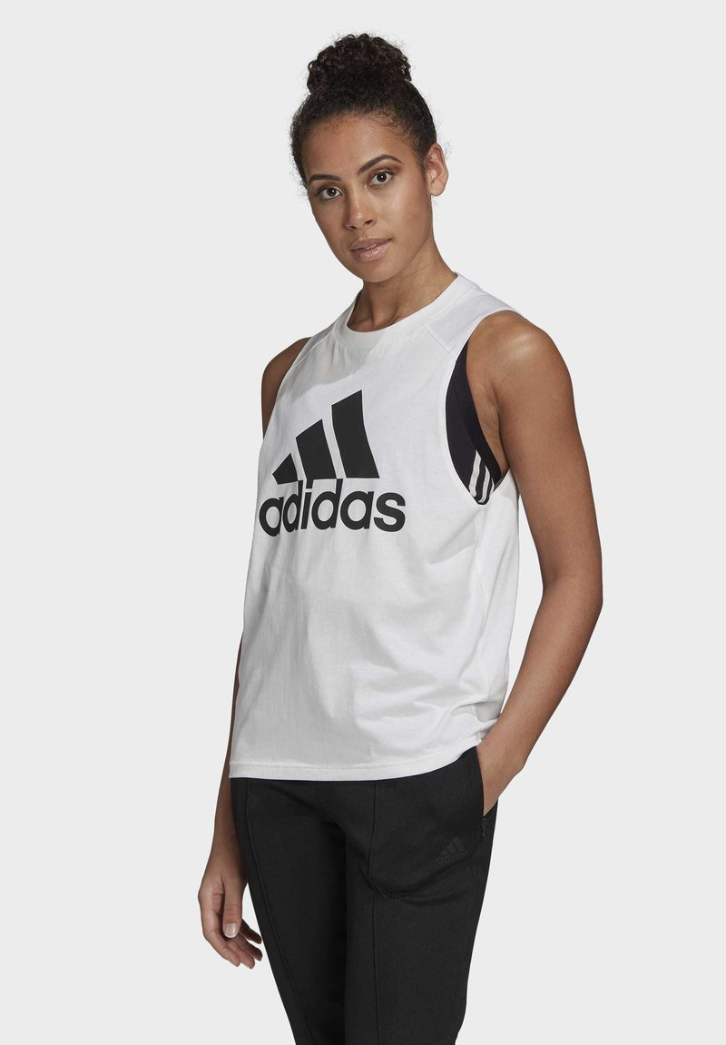 adidas Performance - BADGE OF SPORT COTTON TANK TOP - Top - white