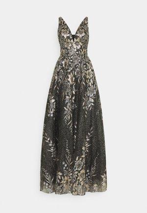 Společenské šaty - schwarz/gold glitzer