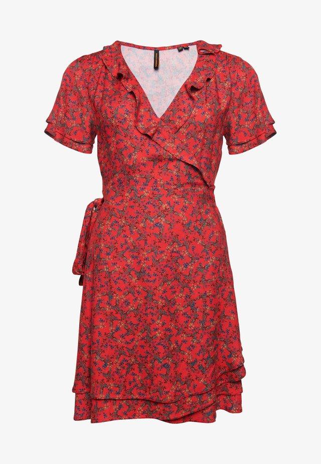 Korte jurk - autumn ditsy red