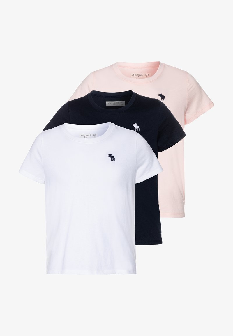 Abercrombie & Fitch - CORE CREW 3 PACK - T-shirt basic - navy/pink/white