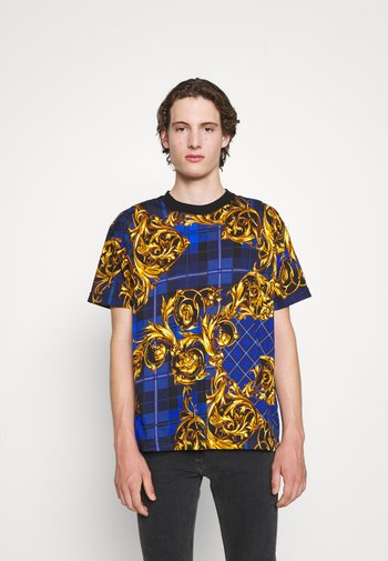 T-shirt con stampa - blu royal/oro