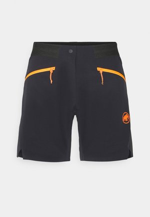 SERTIG  - kurze Sporthose - black/vibrant orange