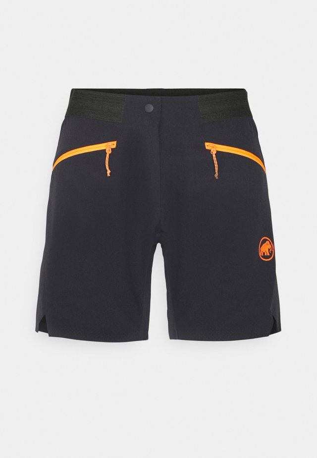 SERTIG  - Korte broeken - black/vibrant orange