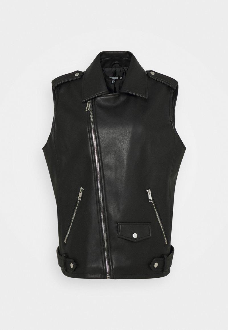 Missguided Petite - BIKER GILET - Waistcoat - black