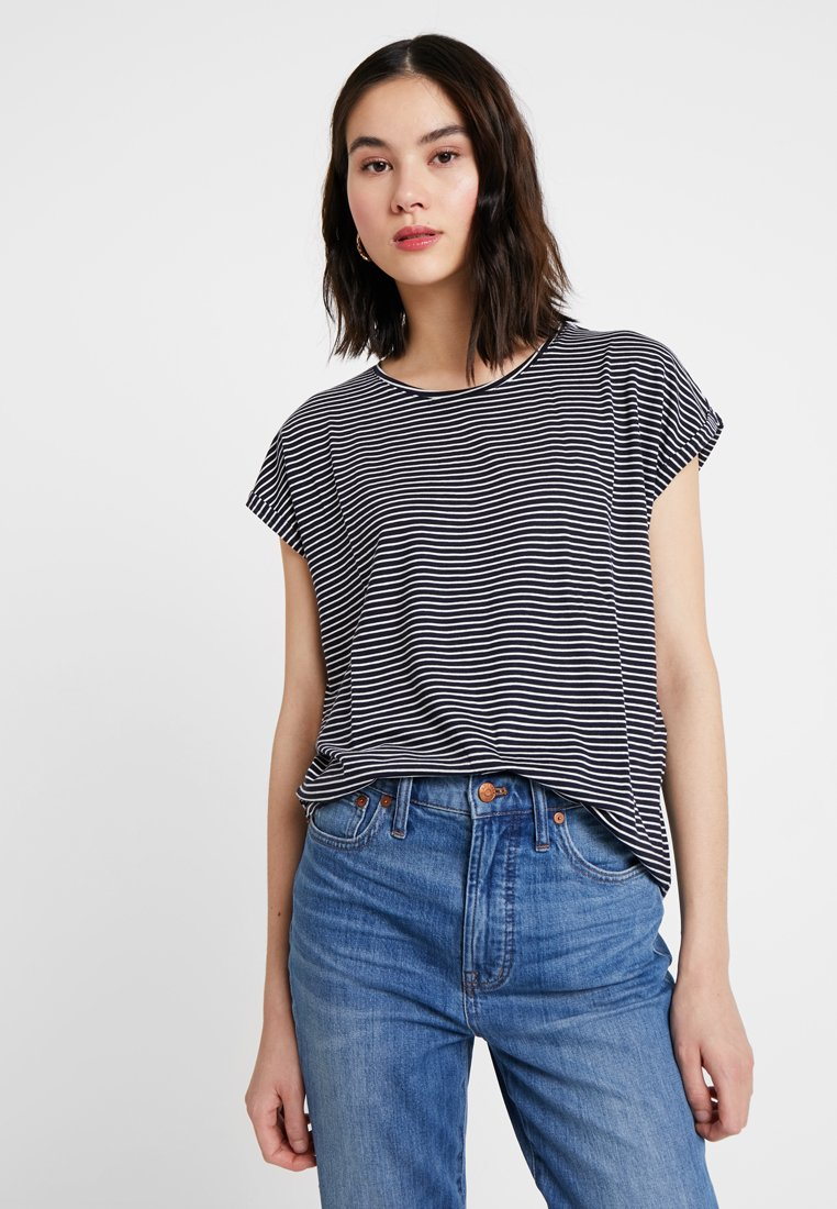 Vero Moda - VMAVA PLAIN STRIPE - Print T-shirt - night sky/snow white