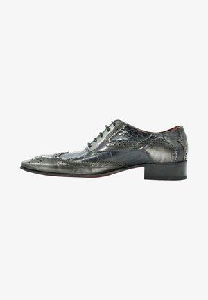 Smart lace-ups - black croco gray brushed