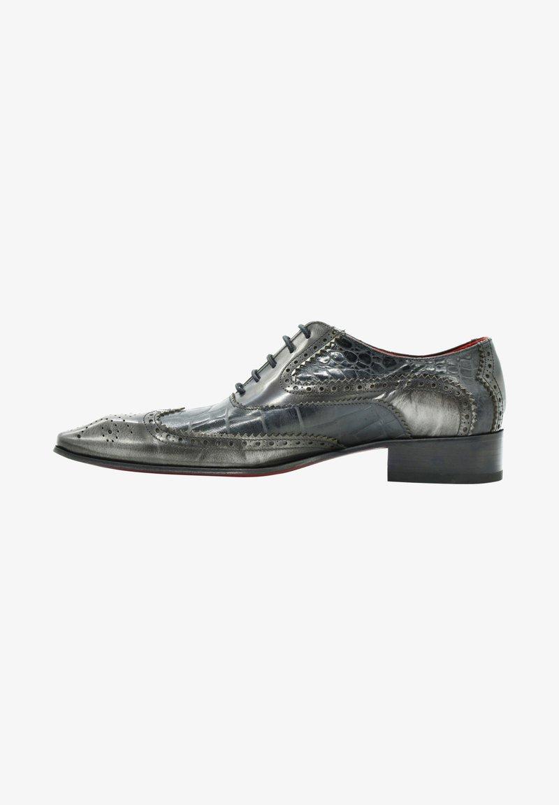 Fertini - Smart lace-ups - black croco gray brushed