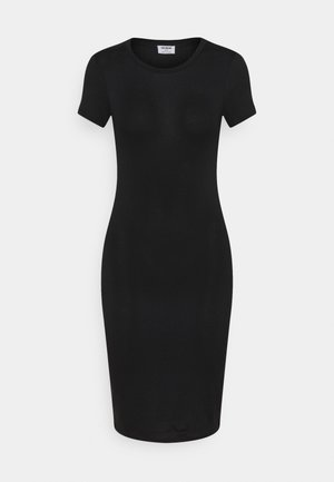 ESENTIAL SHORT SLEEVE BODYCON MIDI DRESS - Shift dress - black texture