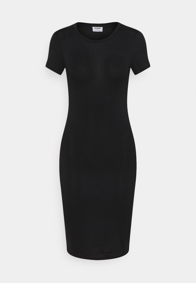 ESENTIAL SHORT SLEEVE BODYCON MIDI DRESS - Etui-jurk - black texture