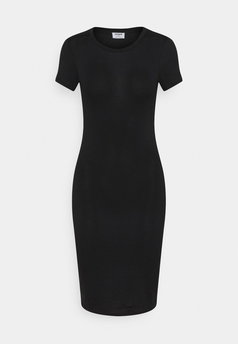 Cotton On - ESENTIAL SHORT SLEEVE BODYCON MIDI DRESS - Pouzdrové šaty - black texture