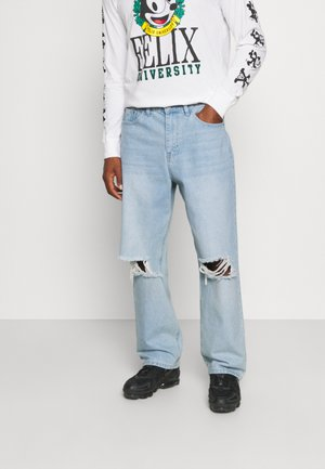 MIRROR WASHED RIPPED - Relaxed fit jeans - mid blue wash