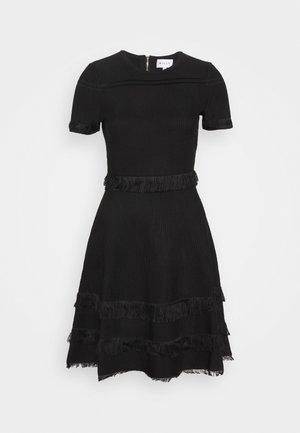 CUT FRINGE DRESS - Jerseyjurk - black