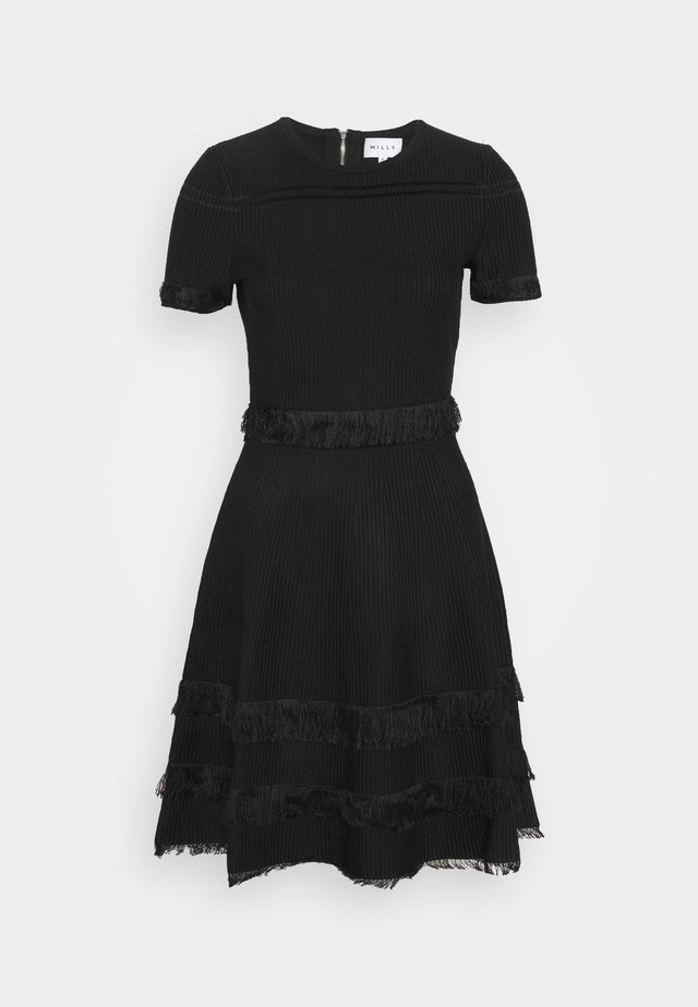 CUT FRINGE DRESS - Jersey dress - black