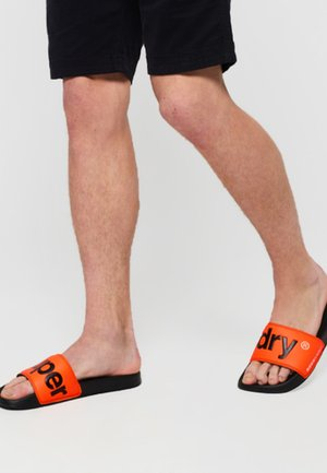 POOL SLIDE - Pool slides - black / neon orange / white