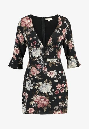 PRINTED BIAS NECK DRESS - Day dress - black