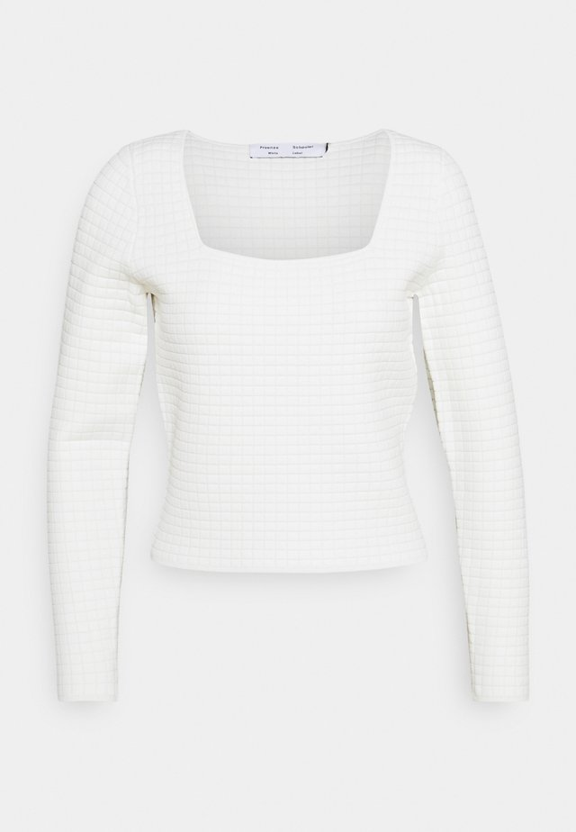 QUILTED DRESSING SQUARE NECK LONG SLEEVE  - Svetr - white