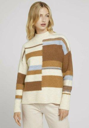 Trui - beige brown patchwork stripes