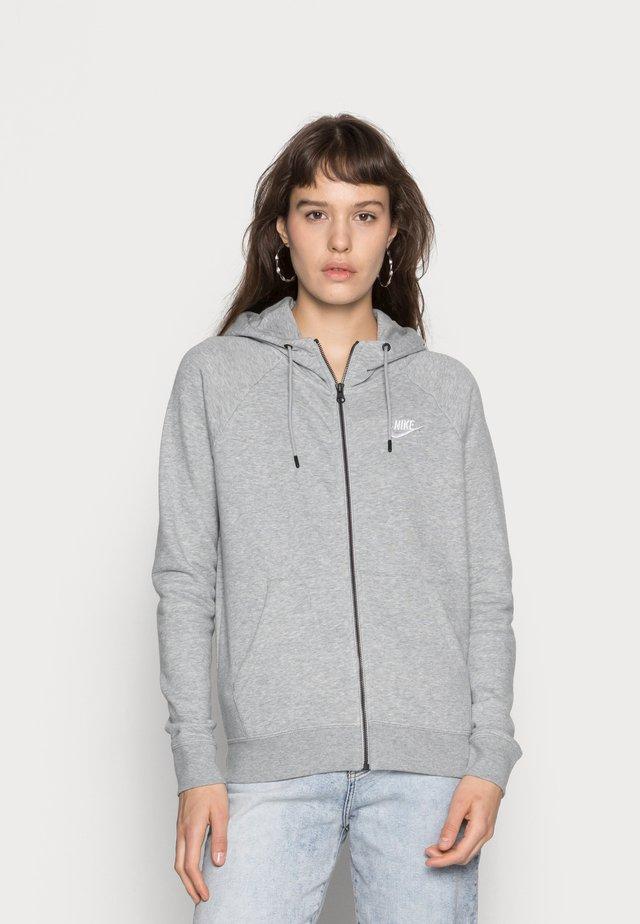 HOODIE - Zip-up hoodie - grey heather/white
