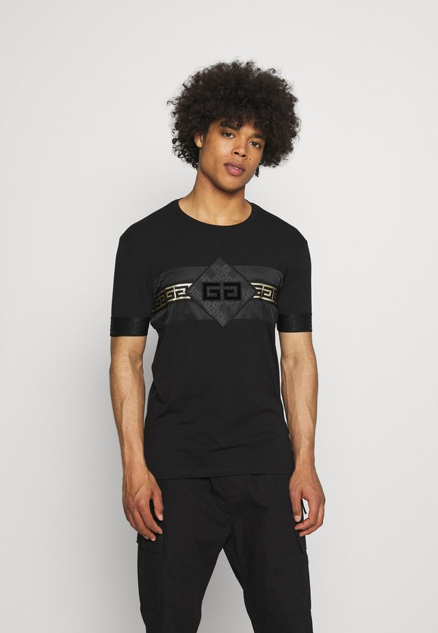 GALOS TEE - T-shirt con stampa - jet black/gold