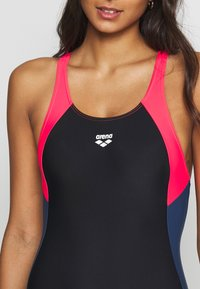 Arena - REN ONE PIECE - Swimsuit - black/fluo red/shark