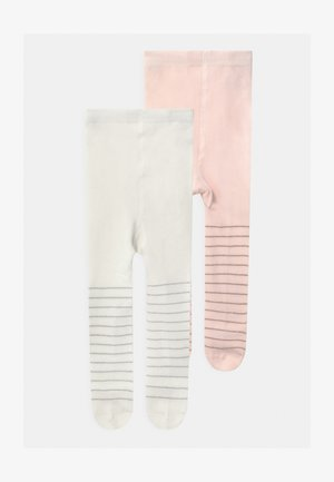 STRIPED 2 PACK - Tights - soft pink/silver
