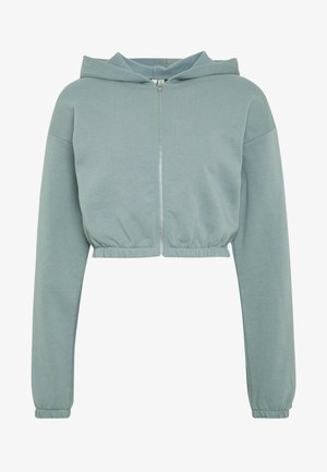 CROPPED ZIP HOODIE - Zip-up hoodie - gray