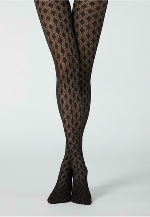 Tights - schwarz black openwork motif