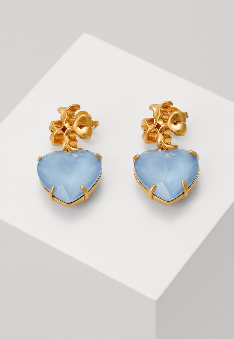 Tory Burch - CARVED KIRA HEART EARRING - Náušnice - light blue