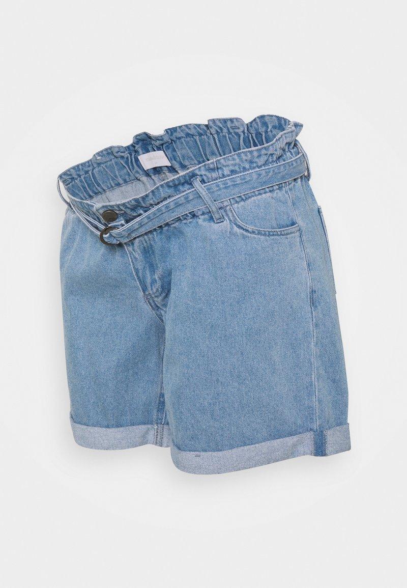 MAMALICIOUS - MLBARKA BELTED - Denim shorts - blue denim