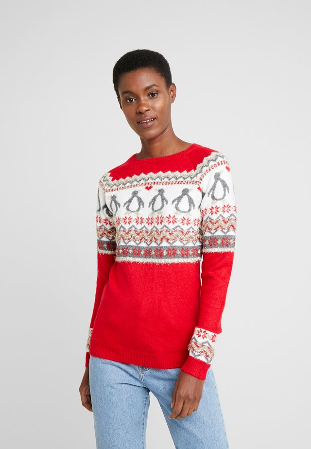 FAIRISLE TINSLE PENGUIIN - Jumper - red