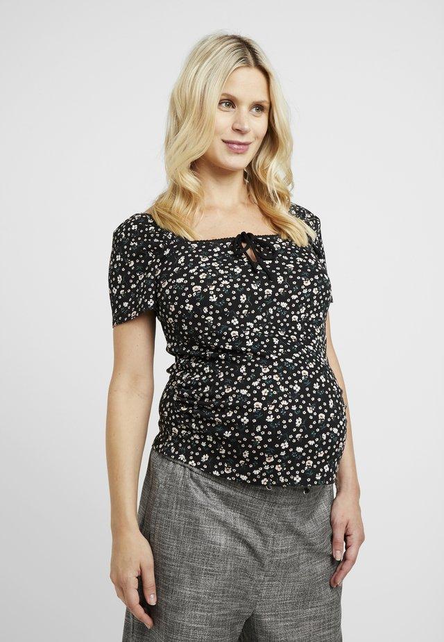 SQUARE NECK - Print T-shirt - black