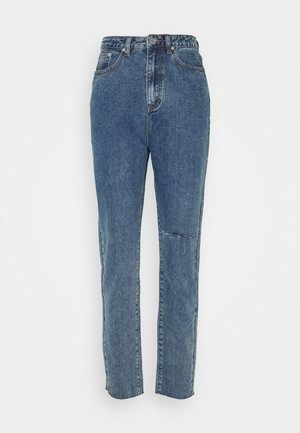 WASHED SINGLE THIGH RIP RIOT - Džíny Straight Fit - blue