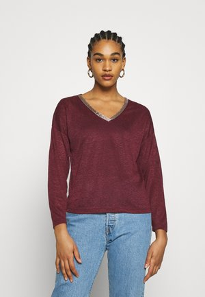 ONYRITA V NECK - Maglione - port royale/gold