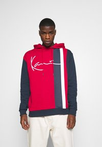 Karl Kani - SIGNATURE BLOCK HOODIE - Hoodie - dark red - 0