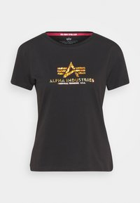 NEW BASIC  - Print T-shirt - black/gold crystal