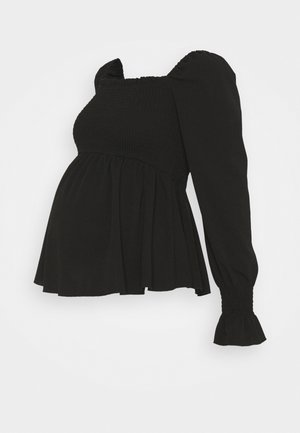 SHIRRED PEPLUM - Long sleeved top - black
