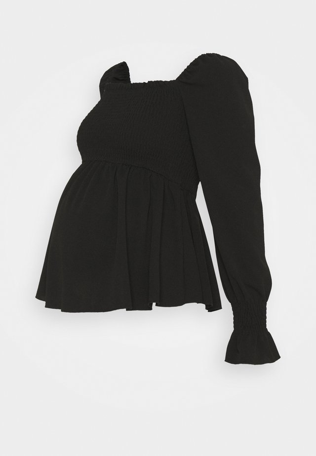 SHIRRED PEPLUM - Langærmede T-shirts - black